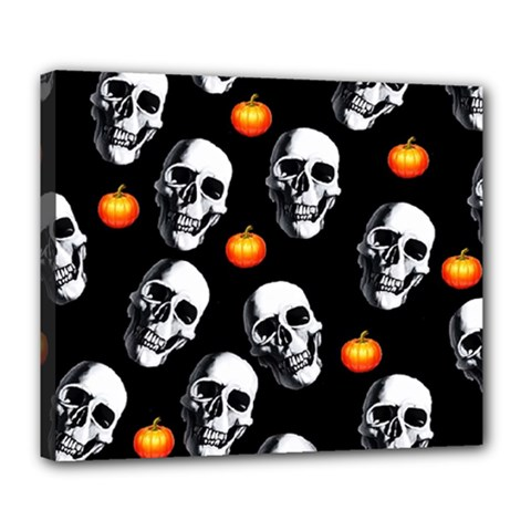 Skulls And Pumpkins Deluxe Canvas 24  X 20   by MoreColorsinLife