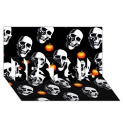 Skulls And Pumpkins Best Sis 3d Greeting Card (8x4)  by MoreColorsinLife