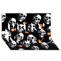 Skulls And Pumpkins Merry Xmas 3d Greeting Card (8x4)