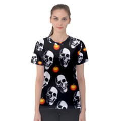 Skulls And Pumpkins Women s Sport Mesh Tees by MoreColorsinLife