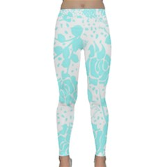 Floral Wallpaper Aqua Yoga Leggings by ImpressiveMoments