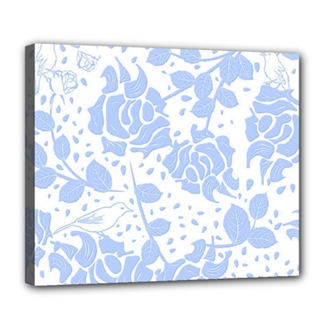 Floral Wallpaper Blue Deluxe Canvas 24  X 20