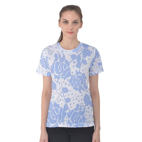 Floral Wallpaper Blue Women s Cotton Tees by ImpressiveMoments