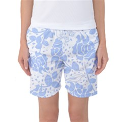 Floral Wallpaper Blue Women s Basketball Shorts by ImpressiveMoments