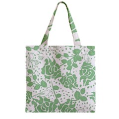 Floral Wallpaper Green Grocery Tote Bags