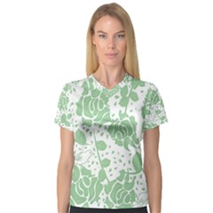 Floral Wallpaper Green Women s V Neck Sport Mesh Tee by ImpressiveMoments
