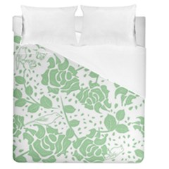Floral Wallpaper Green Duvet Cover Single Side (full/queen Size) by ImpressiveMoments