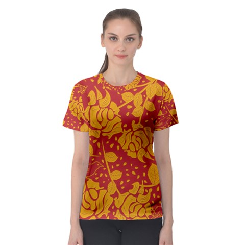 Floral Wallpaper Hot Red Women s Sport Mesh Tees by ImpressiveMoments