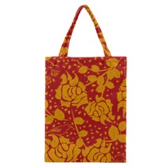 Floral Wallpaper Hot Red Classic Tote Bags by ImpressiveMoments