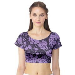 Floral Wallpaper Purple Short Sleeve Crop Top by ImpressiveMoments