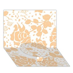 Floral Wallpaper Peach Circle Bottom 3d Greeting Card (7x5)