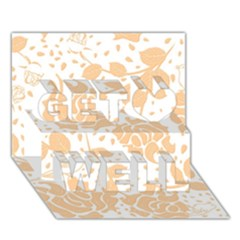 Floral Wallpaper Peach Get Well 3d Greeting Card (7x5)  by ImpressiveMoments
