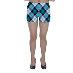 Smart Plaid Teal Skinny Shorts by ImpressiveMoments