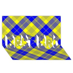 Smart Plaid Blue Yellow Best Bro 3d Greeting Card (8x4)  by ImpressiveMoments