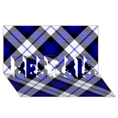 Smart Plaid Blue Best Sis 3d Greeting Card (8x4)  by ImpressiveMoments