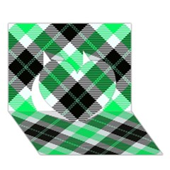 Smart Plaid Green Heart 3d Greeting Card (7x5)  by ImpressiveMoments