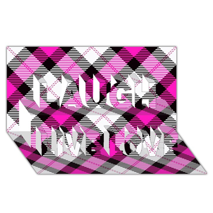 Smart Plaid Hot Pink Laugh Live Love 3D Greeting Card (8x4)