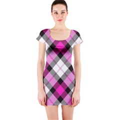 Smart Plaid Hot Pink Short Sleeve Bodycon Dresses