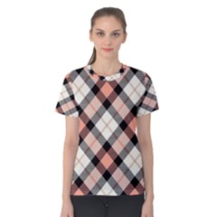 Smart Plaid Peach Women s Cotton Tees by ImpressiveMoments