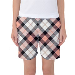 Smart Plaid Peach Women s Basketball Shorts by ImpressiveMoments
