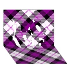 Smart Plaid Purple Love 3d Greeting Card (7x5)  by ImpressiveMoments