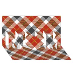 Smart Plaid Warm Colors Mom 3d Greeting Card (8x4)  by ImpressiveMoments