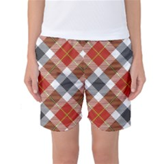 Smart Plaid Warm Colors Women s Basketball Shorts by ImpressiveMoments