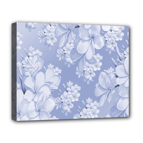 Delicate Floral Pattern,blue  Deluxe Canvas 20  X 16   by MoreColorsinLife
