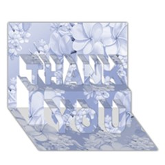 Delicate Floral Pattern,blue  Thank You 3d Greeting Card (7x5)  by MoreColorsinLife