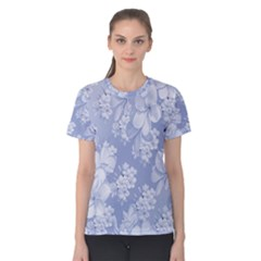 Delicate Floral Pattern,blue  Women s Cotton Tees by MoreColorsinLife
