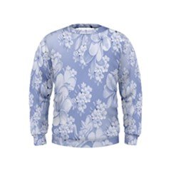 Delicate Floral Pattern,blue  Boys  Sweatshirts by MoreColorsinLife