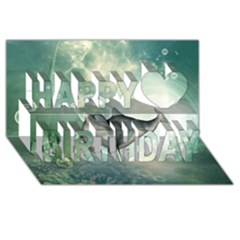 Funny Dswimming Dolphin Happy Birthday 3d Greeting Card (8x4)