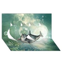 Funny Dswimming Dolphin Twin Hearts 3d Greeting Card (8x4)