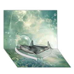 Funny Dswimming Dolphin Heart Bottom 3d Greeting Card (7x5)
