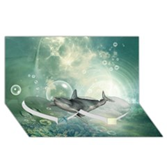 Funny Dswimming Dolphin Twin Heart Bottom 3d Greeting Card (8x4)