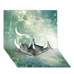 Funny Dswimming Dolphin Clover 3d Greeting Card (7x5)