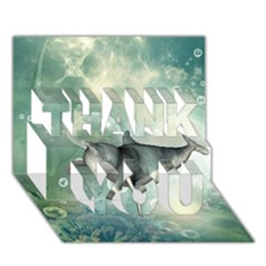 Funny Dswimming Dolphin Thank You 3d Greeting Card (7x5)