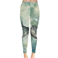 Funny Dswimming Dolphin Women s Leggings