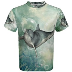 Funny Dswimming Dolphin Men s Cotton Tees