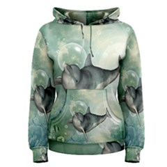 Funny Dswimming Dolphin Women s Pullover Hoodies