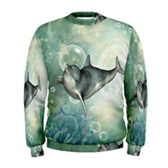 Funny Dswimming Dolphin Men s Sweatshirts