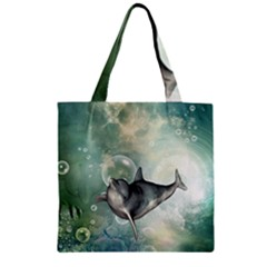 Funny Dswimming Dolphin Zipper Grocery Tote Bags by FantasyWorld7