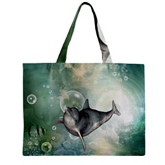 Funny Dswimming Dolphin Zipper Tiny Tote Bags