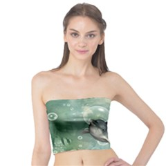 Funny Dswimming Dolphin Women s Tube Tops