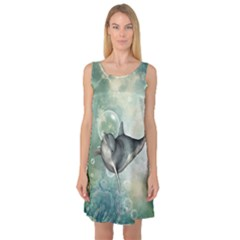 Funny Dswimming Dolphin Sleeveless Satin Nightdresses