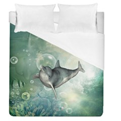 Funny Dswimming Dolphin Duvet Cover Single Side (full/queen Size)