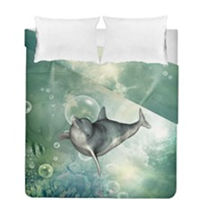Funny Dswimming Dolphin Duvet Cover (twin Size)