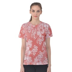 Delicate Floral Pattern,pink  Women s Cotton Tees by MoreColorsinLife