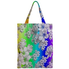 Delicate Floral Pattern,rainbow Zipper Classic Tote Bags by MoreColorsinLife
