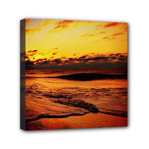 Stunning Sunset On The Beach 2 Mini Canvas 6  X 6  by MoreColorsinLife